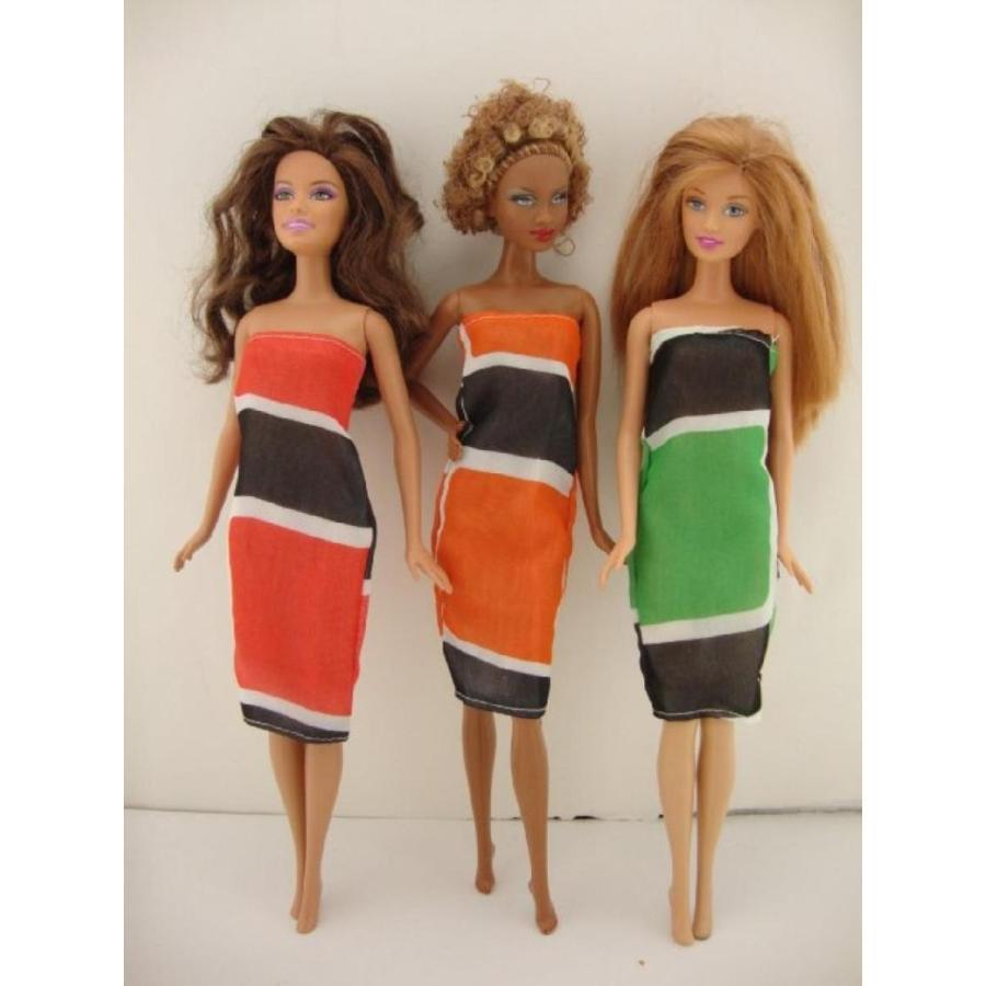 バービー人形 着せ替え おもちゃ A Set of 3 Amazing Dresses in Bright Colors and Patterns Made to Fit the Barbie Doll 輸入品