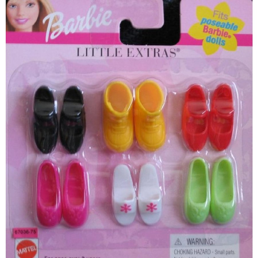 バービー人形 着せ替え おもちゃ Barbie Little Extras SHOES - 6 Pairs of Various Colors & Styles (1999) 輸入品
