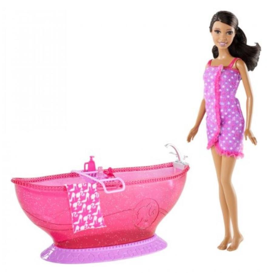 バービー人形 着せ替え おもちゃ Barbie Bath Tub And Barbie African-American Doll Playset 輸入品