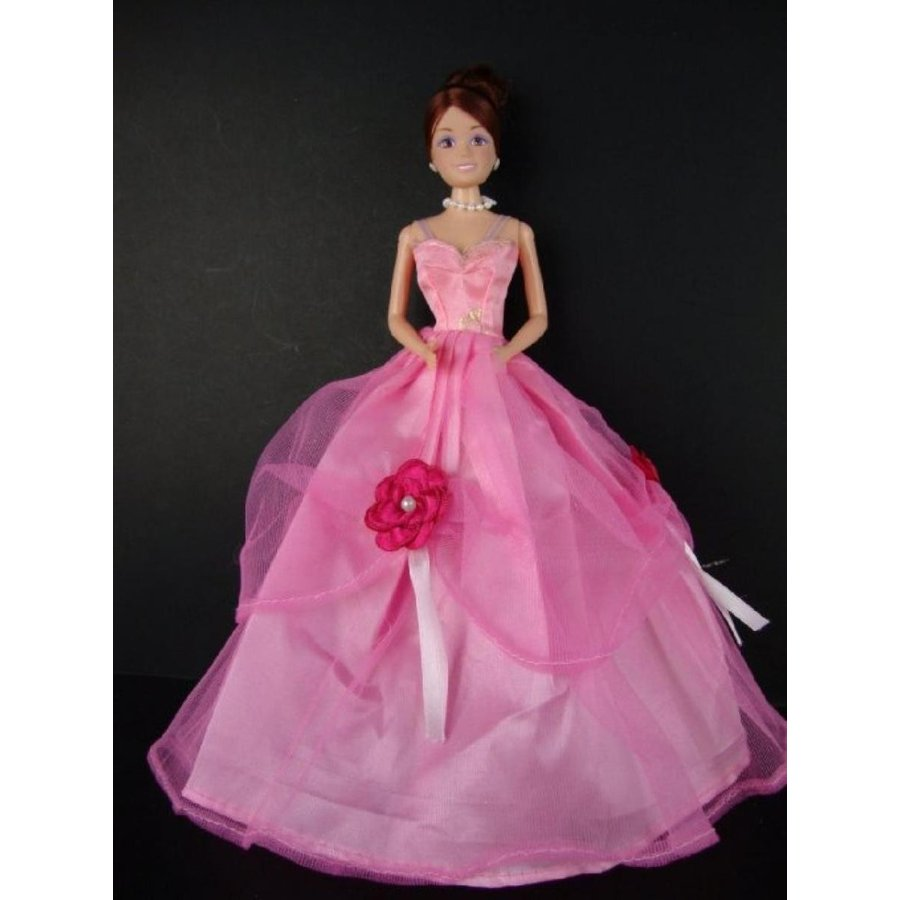 バービー人形 着せ替え おもちゃ Cute Little ピンク Gown with Dark ピンク Flower Accents Made to Fit the Barbie Doll 輸入品