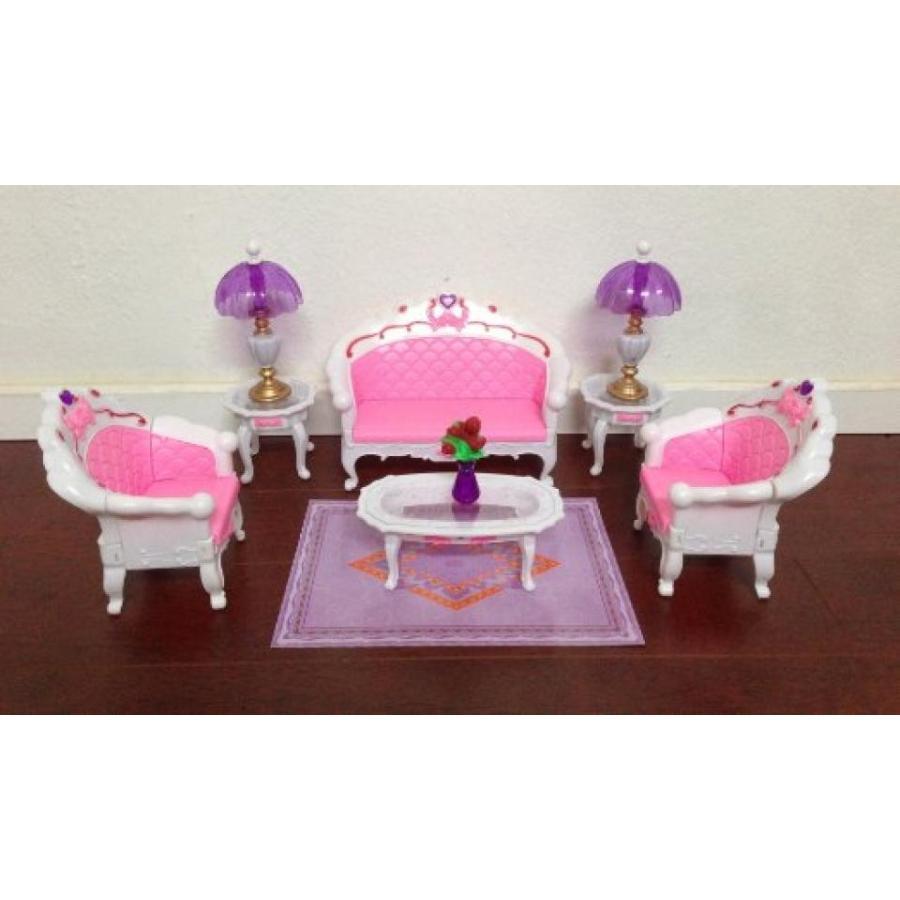 バービー人形 着せ替え おもちゃ Barbie Size Dollhouse Furniture- Living Room Grand Parlour Sofa Set 輸入品