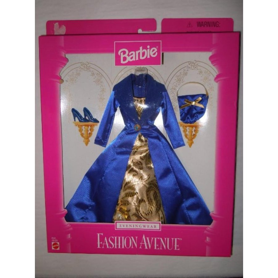 バービー人形 おもちゃ 着せ替え Barbie Fashion Avenue Eveningwear 1997 青 and ゴールド Gown 輸入品