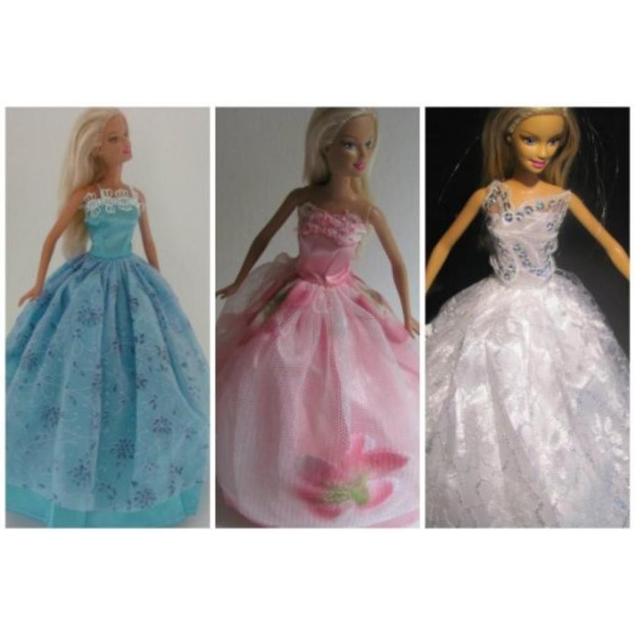バービー人形 着せ替え おもちゃ Barbie Doll Clothes Dress: ピンク, 白い, 青 Dresses Fit 11.5 Inch Barbie Dolls 輸入品