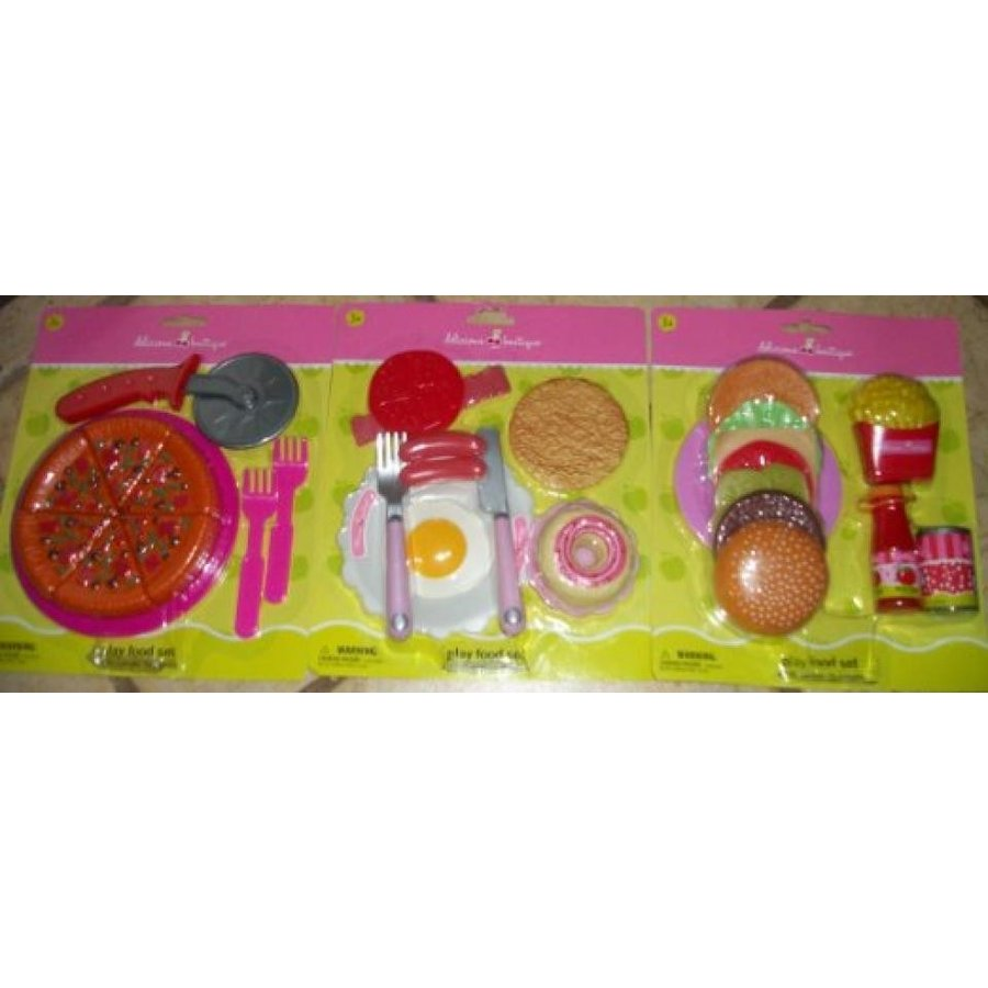 バービー人形 着せ替え おもちゃ 3 Sets of Pretend Foods Eggs/Pizza/Hamburgers 33 Total Pieces 輸入品