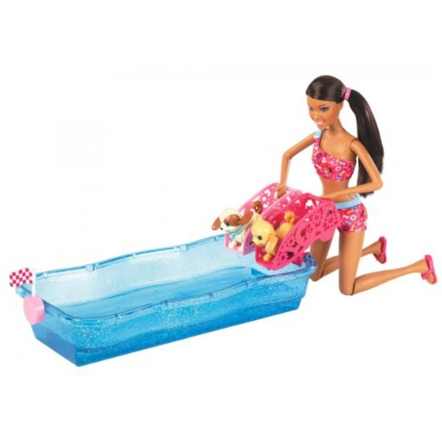 バービー人形 着せ替え おもちゃ Barbie Swim and Race Pups African-American Doll Playset 輸入品