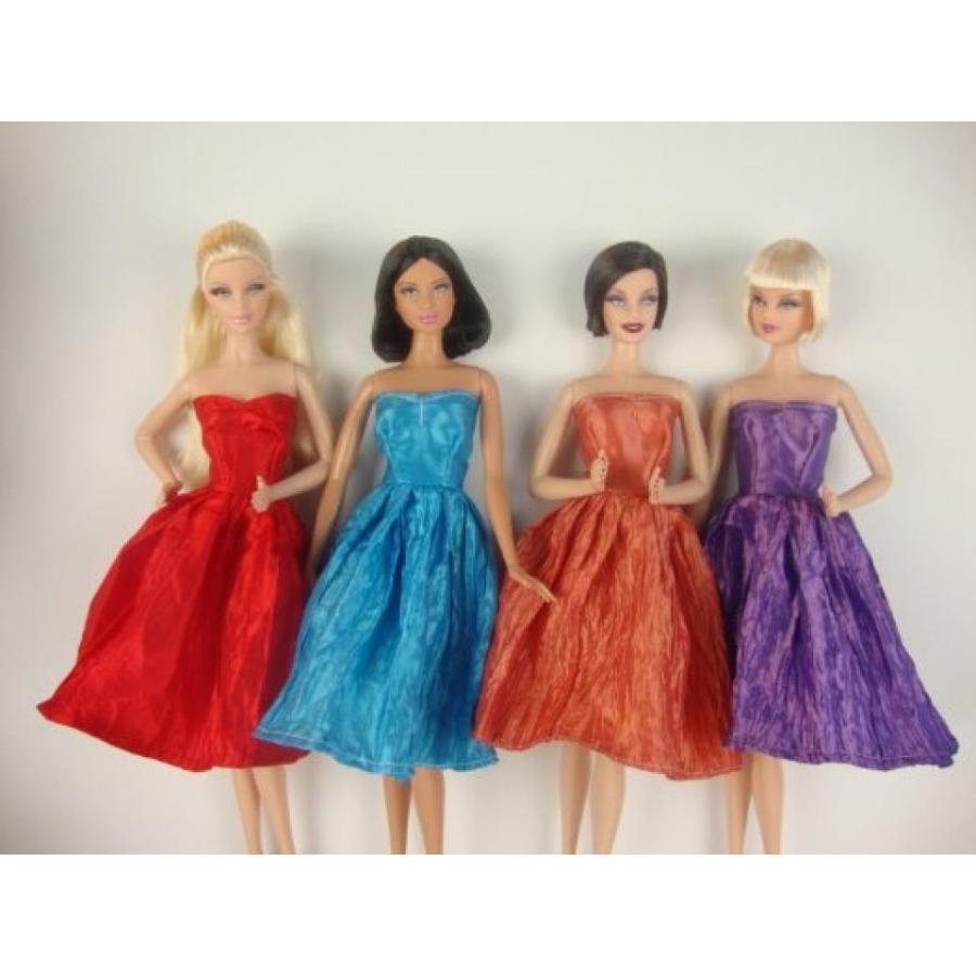 バービー人形 おもちゃ 着せ替え Set of 4 Beautiful Knee Length Dresses in 赤, 紫の, Blu