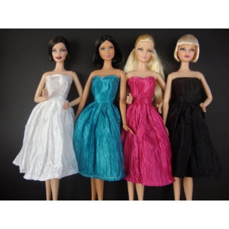 バービー人形 おもちゃ 着せ替え Set of 4 Amazing Knee Length Dresses in ピンク, 青, 黒