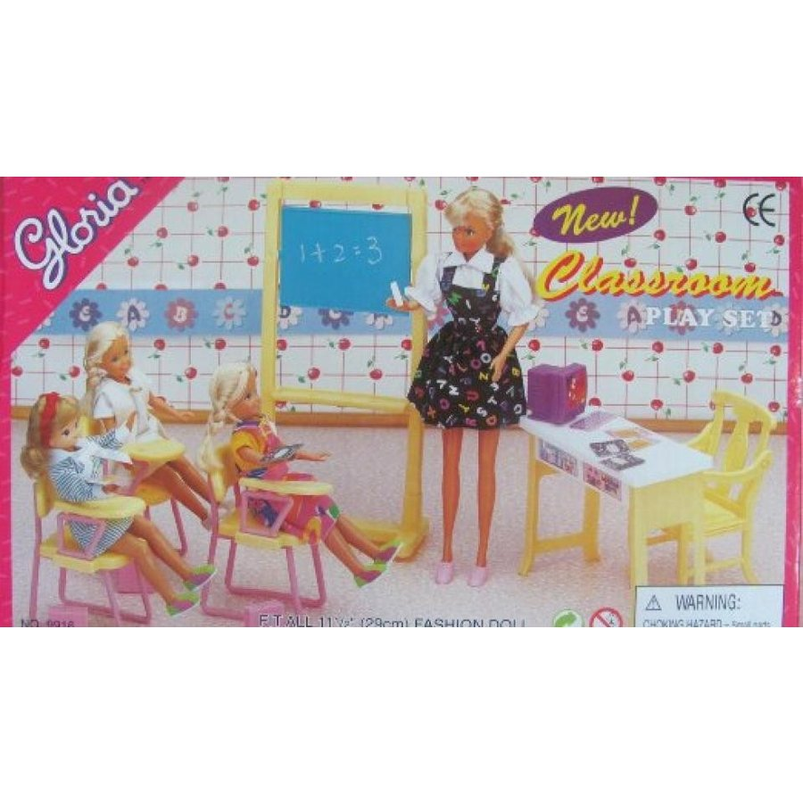 バービー人形 おもちゃ 着せ替え Barbie Size Dollhouse Furniture- Classroom Chairs Desk Chalkboard 輸入品