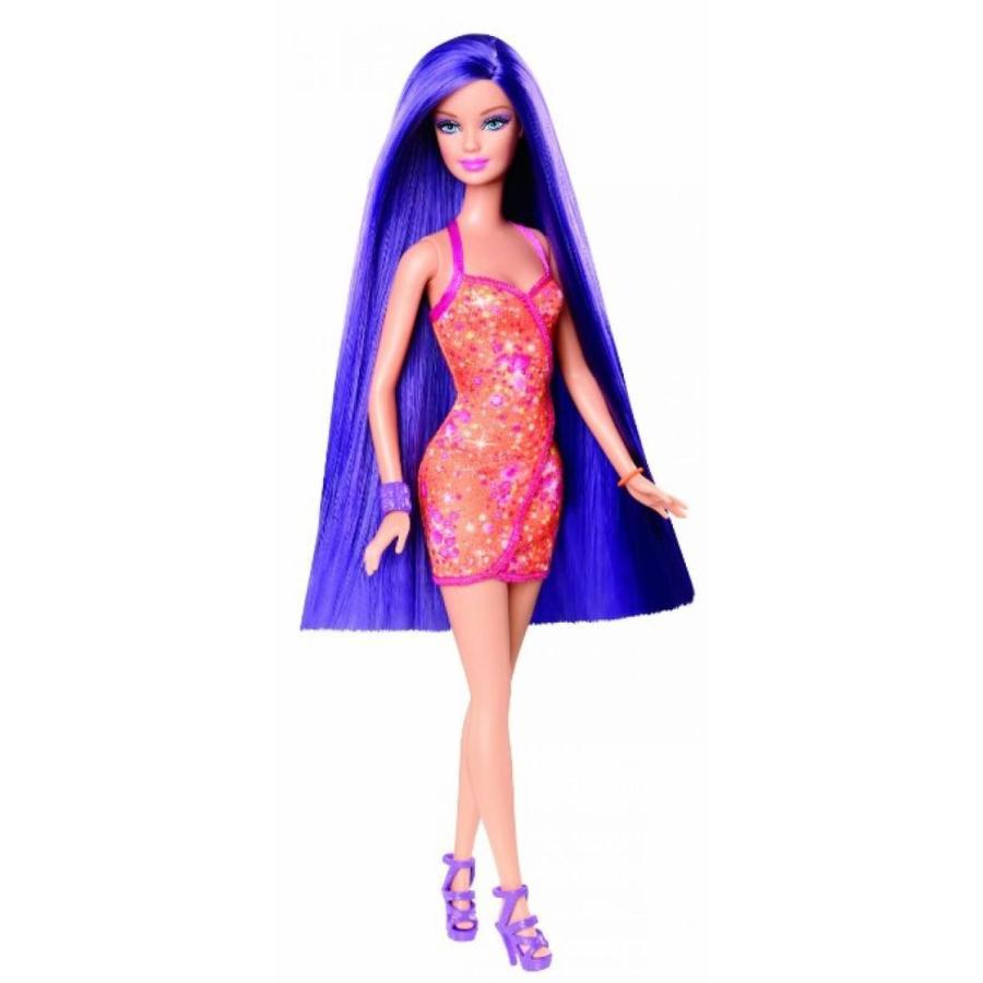 バービー人形 着せ替え おもちゃ Barbie Hairtastic オレンジ Dress Long 紫の Hair Doll 輸入品