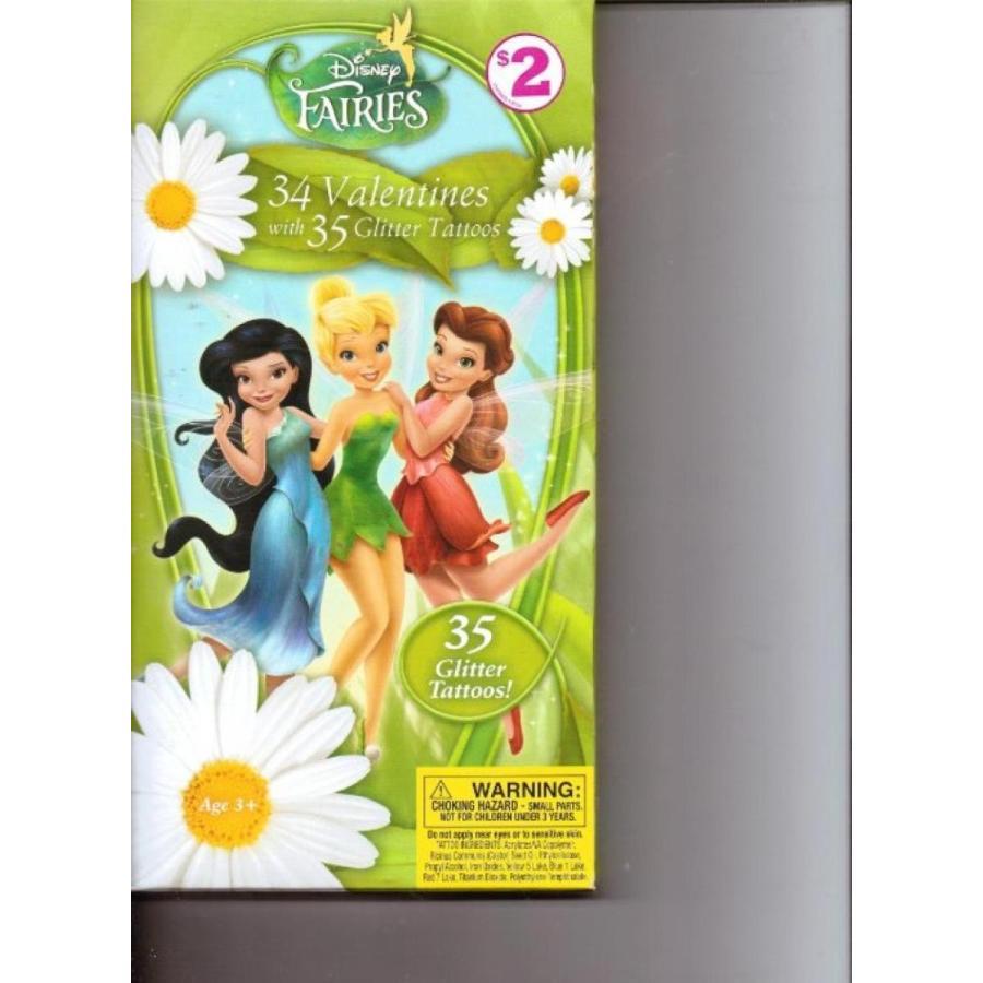 アナと雪の女王 おもちゃ フィギュア Disney Fairies 34 Valentines with 35 Glitter Tattoos 輸入品