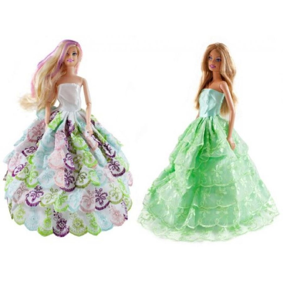バービー人形 着せ替え おもちゃ 2 Barbie Gorgeous Peafowl Gown with Lace Ruffles Ball Gown Set 輸入品