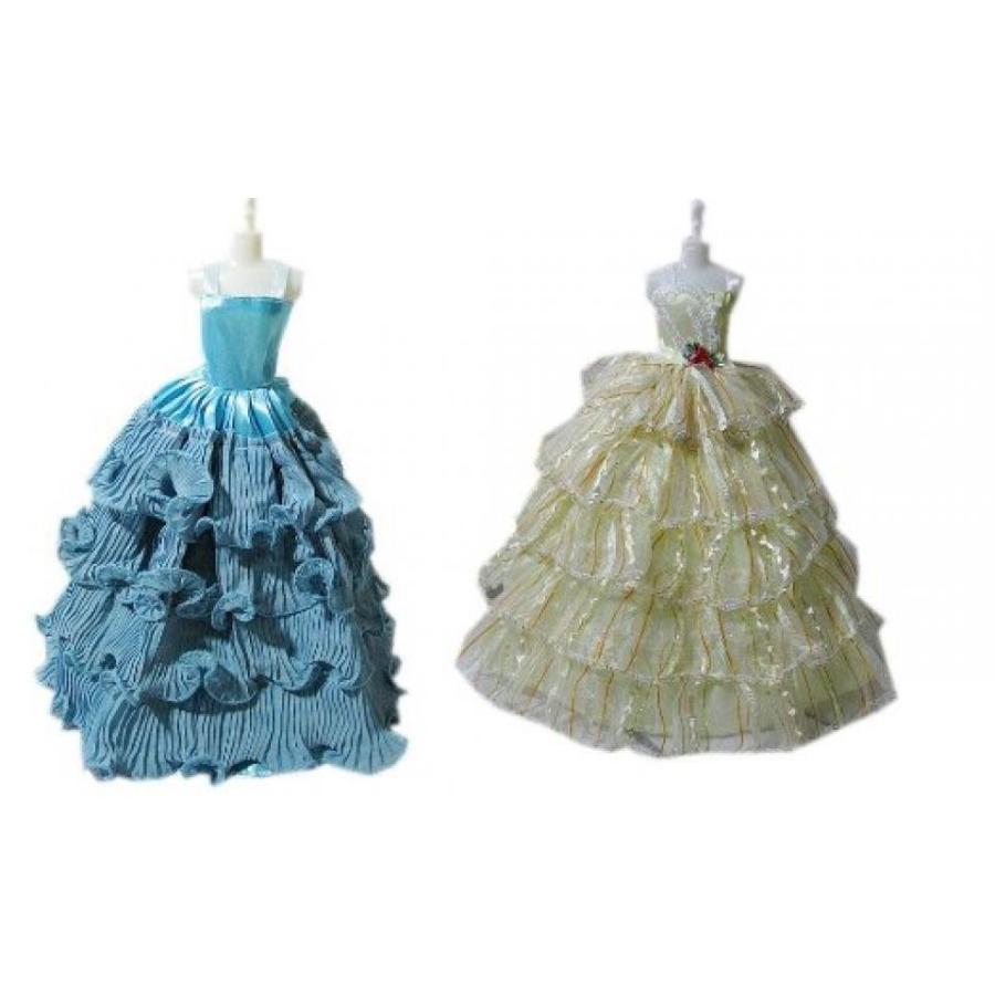 バービー人形 着せ替え おもちゃ Gift for Girls Set of 2 Barbie-like Doll Dresses 青 & 黄 Ruffle Gowns 輸入品
