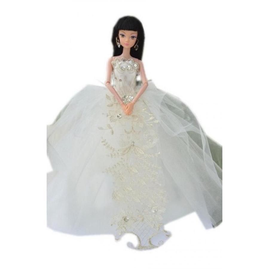 バービー人形 着せ替え おもちゃ Royal Wedding Dress for Barbie Doll Polished Embroidery Wedding Gown 輸入品