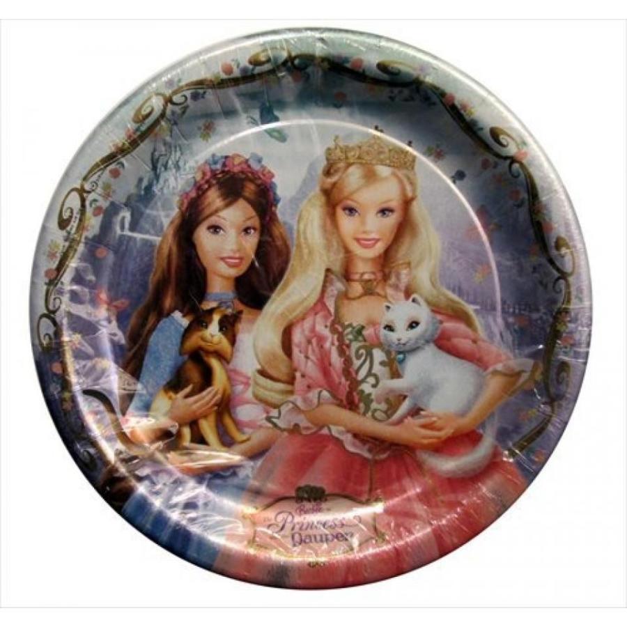バービー人形 着せ替え おもちゃ Barbie 'Princess and the Pauper' Large Paper Plates (8ct) 輸入品