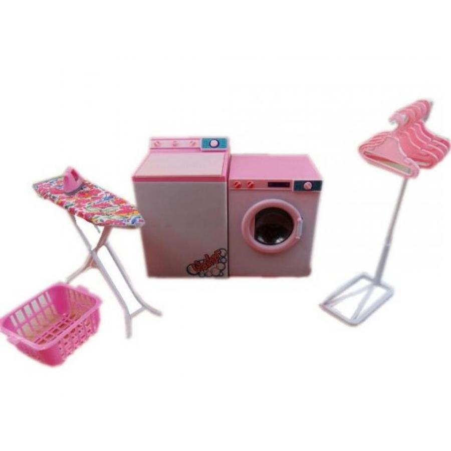 バービー人形 おもちゃ 着せ替え Doll's Furniture Laundry Center Dry Cleaning Washing Machine Dryer Basket Iron 輸入品