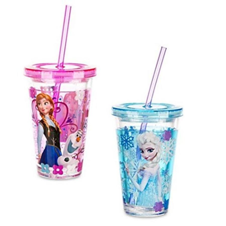 アナと雪の女王 おもちゃ フィギュア Disney Store Frozen Anna & Elsa Glitter Sparkle Cups Tumbler W/straw Set of 2 輸入品