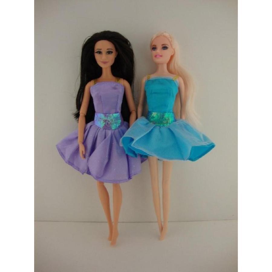 バービー人形 着せ替え おもちゃ A Set of 2 Delightful Cocktail Dresses in 青 and 紫の Made to Fit the Barbie Doll 輸入品