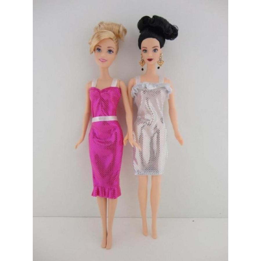 バービー人形 着せ替え おもちゃ A Set of 2 Metallic Cocktail Dresses in ピンク and 銀 Made to Fit the Barbie Doll 輸入品