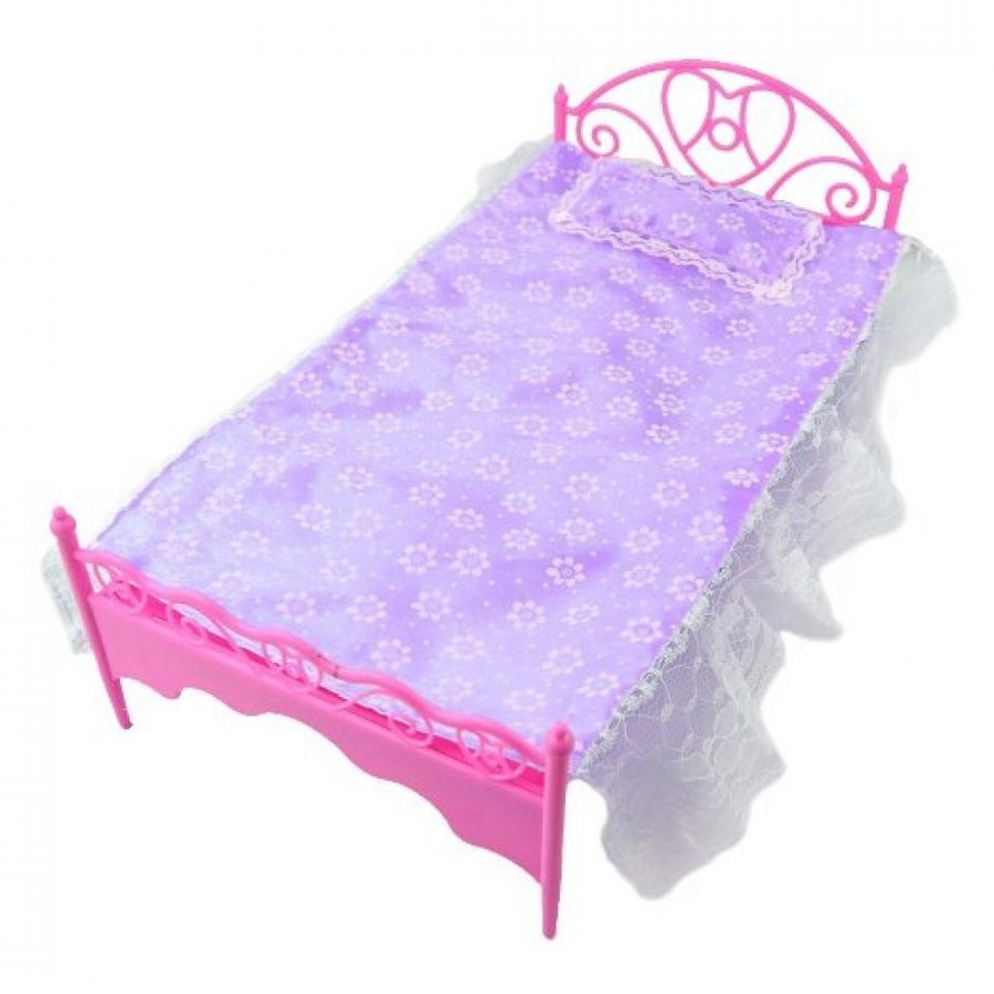 バービー人形 着せ替え おもちゃ E-TING 紫の Mini Bed With Pillow for Barbie Dolls Dollhouse Bedroom Furniture #2 輸入品