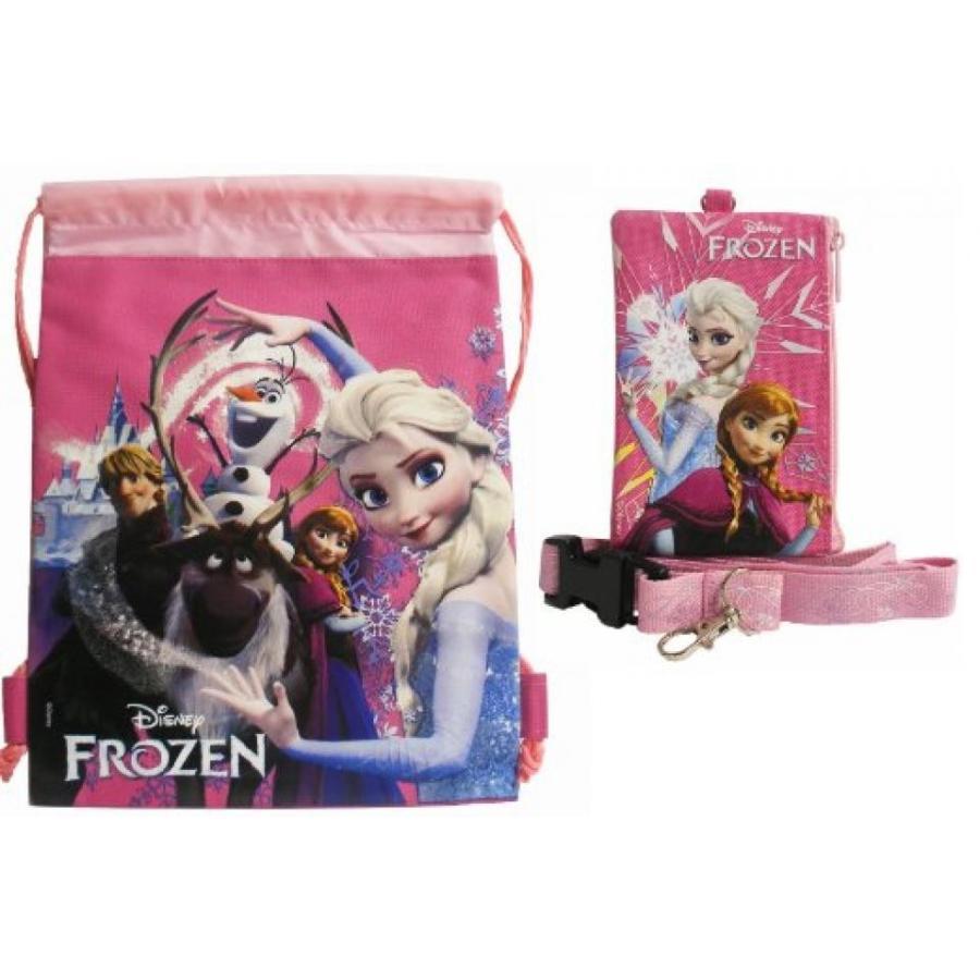 アナと雪の女王 おもちゃ フィギュア Disney Frozen All Characters 1 Hot ピンク Drawstring Bag and 1 Lanyard 輸入品