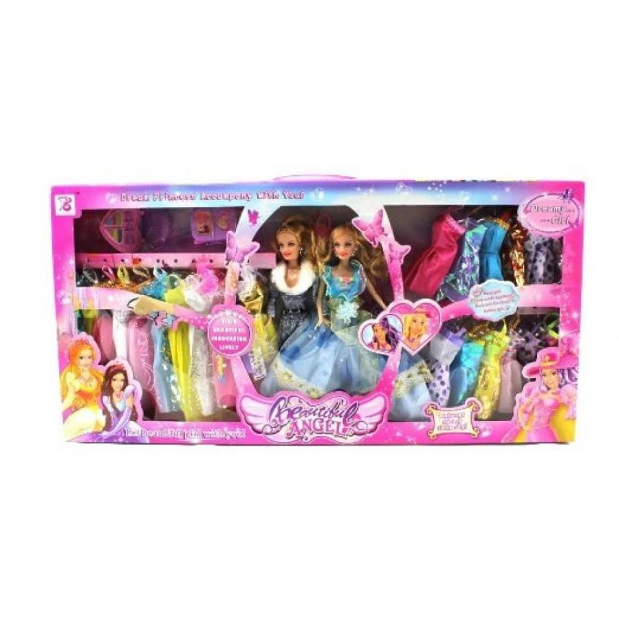 バービー人形 おもちゃ 着せ替え My Beautiful Angel Princess 28 Piece Double Toy Doll Plays