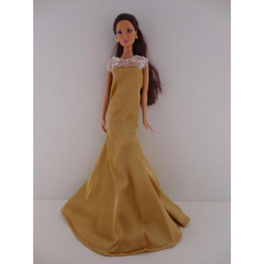 バービー人形 着せ替え おもちゃ An Old Hollywood Inspi赤 Dress in ゴールド with See Thru Lace