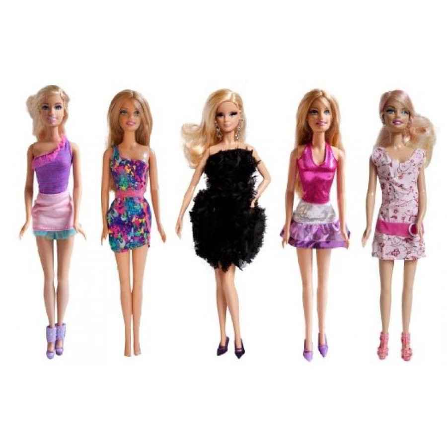 バービー人形 着せ替え おもちゃ Lot of 5 Barbie Fashion Dresses / Short Gowns Set B, Handm