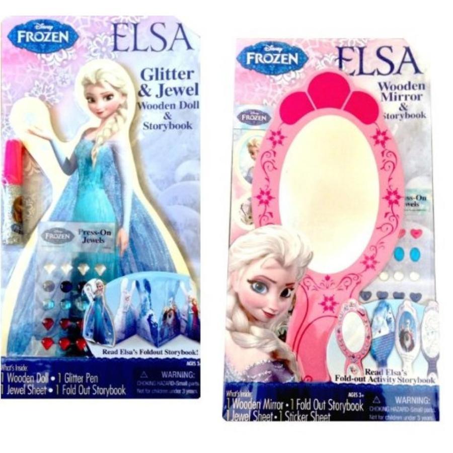 アナと雪の女王 おもちゃ フィギュア Disney Frozen Elsa Wooden Mirror & Wooden Doll Storybooks 輸入品