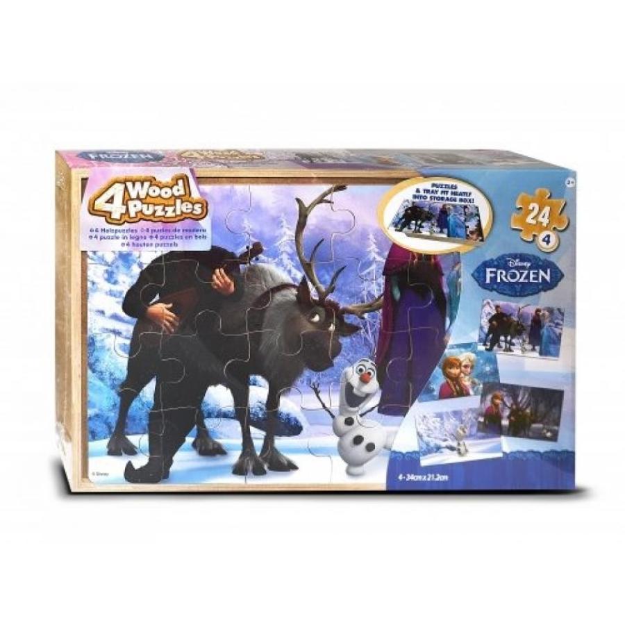 アナと雪の女王 おもちゃ フィギュア Disney Frozen '4 Pack Wood Tray' 4 X 24 Piece Puzzle With Tray 輸入品