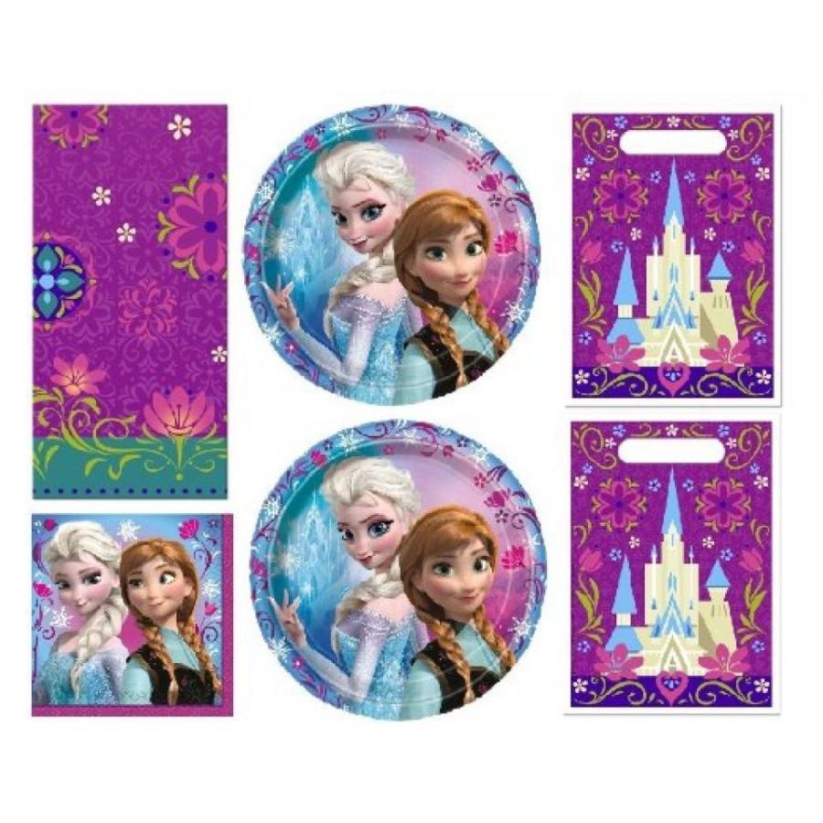 アナと雪の女王 おもちゃ フィギュア Disney Frozen Party Set for 16 Guests ~ Plates Napkins Table Cover Treat Bags 輸入品
