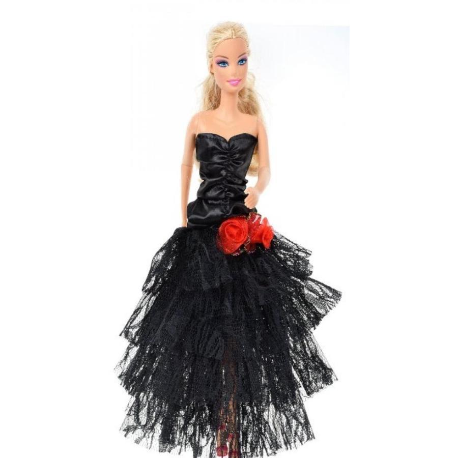 バービー人形 着せ替え おもちゃ Banana Kong Doll's Mesh Laye赤 黒 Strapless Evening Party Dress 輸入品