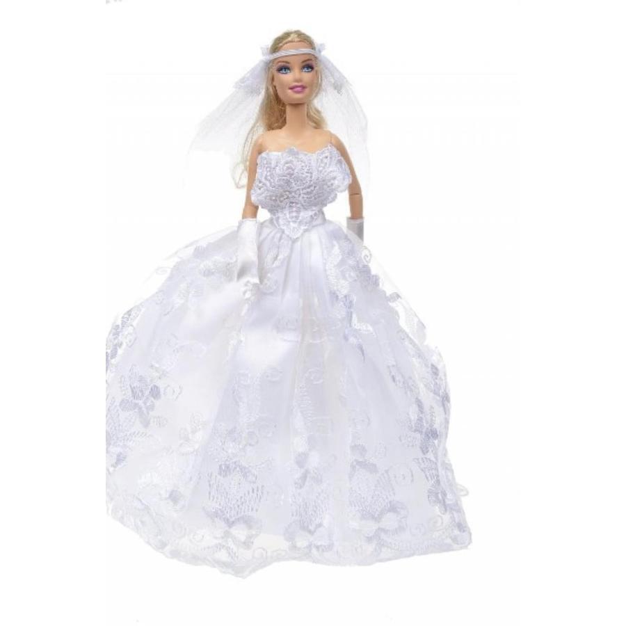 バービー人形 着せ替え おもちゃ Banana Kong 白い Gorgeous Wedding Dress Princess Gown For Doll 輸入品