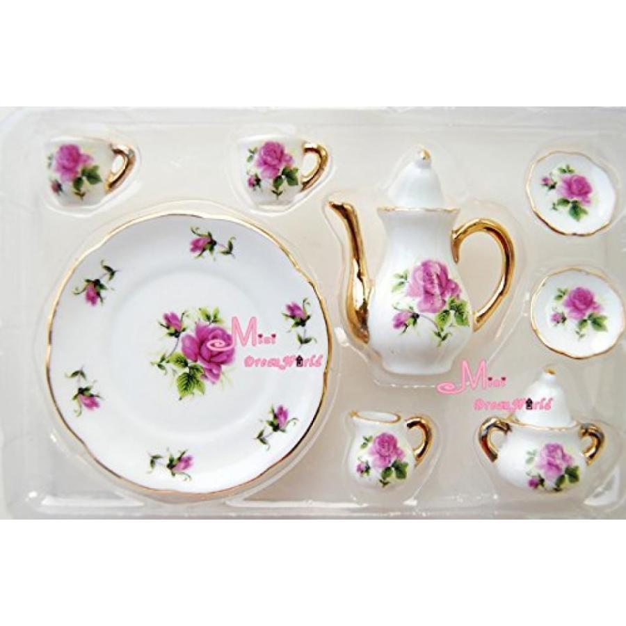 バービー人形 着せ替え おもちゃ 1/6 Scale Dollhouse Rose Miniature Porcelain Coffee Tea Set for Barbie Blythe 8pcs 輸入品