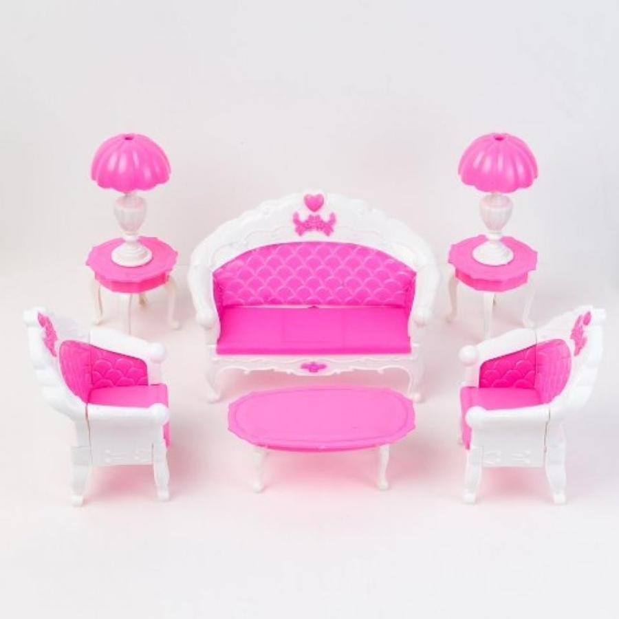 バービー人形 着せ替え おもちゃ Yiding Mini Dollhouse Furniture Living Room Set Table and Chair for Barbie Dolls 輸入品