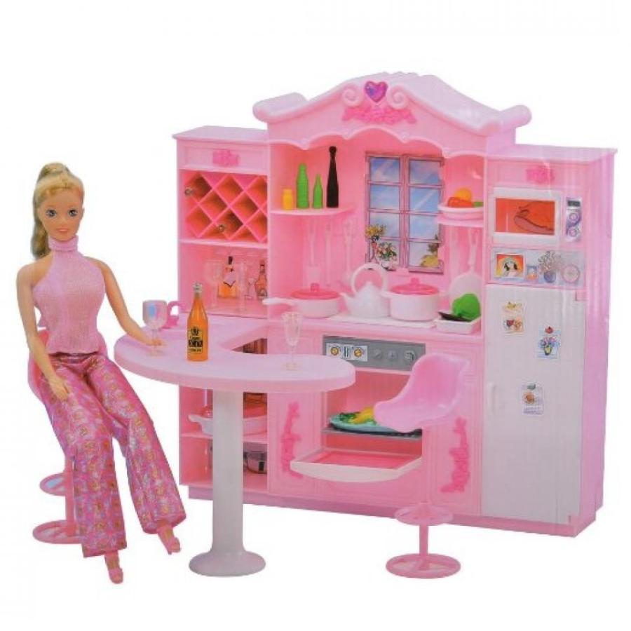 バービー人形 おもちゃ 着せ替え E-TING Kitchen Fridge Cookwares Dollhouse Furniture Accessories For Barbie Doll 輸入品