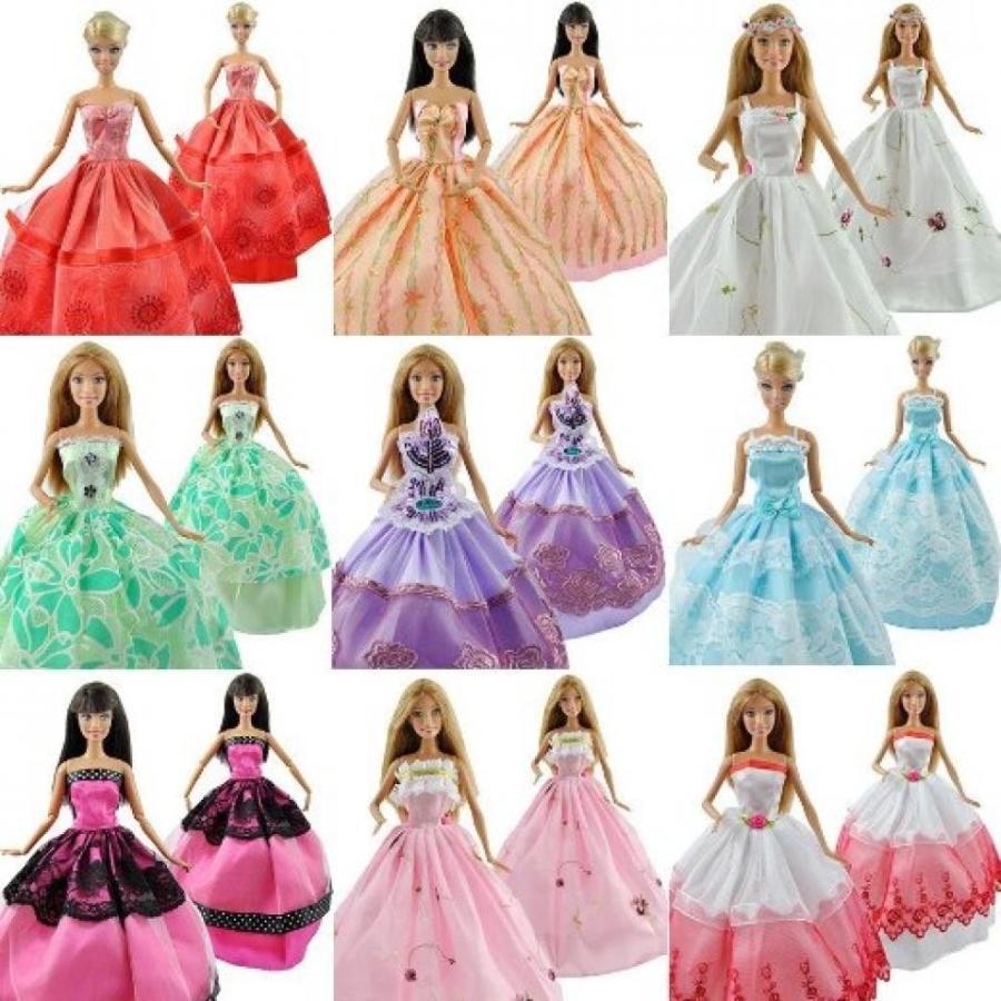 バービー人形 着せ替え おもちゃ TopSun 20 Items Contain 5pcs Barbie Doll Dress 5 Pairs Sho