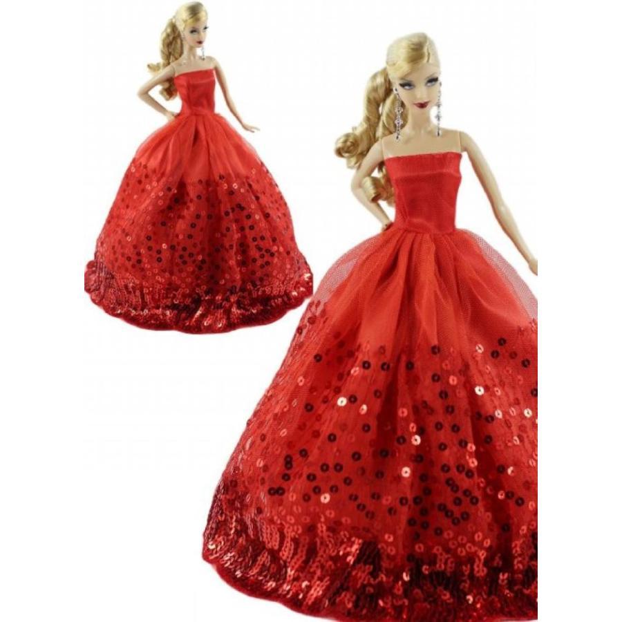バービー人形 着せ替え おもちゃ 赤 Dress with Lots of Sequins for Barbie Doll 輸入品