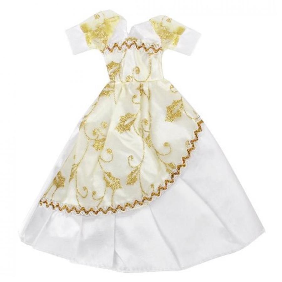 バービー人形 着せ替え おもちゃ 白い Flower Doll Bridal Wedding Dress With ゴールド Glittery Organza 輸入品