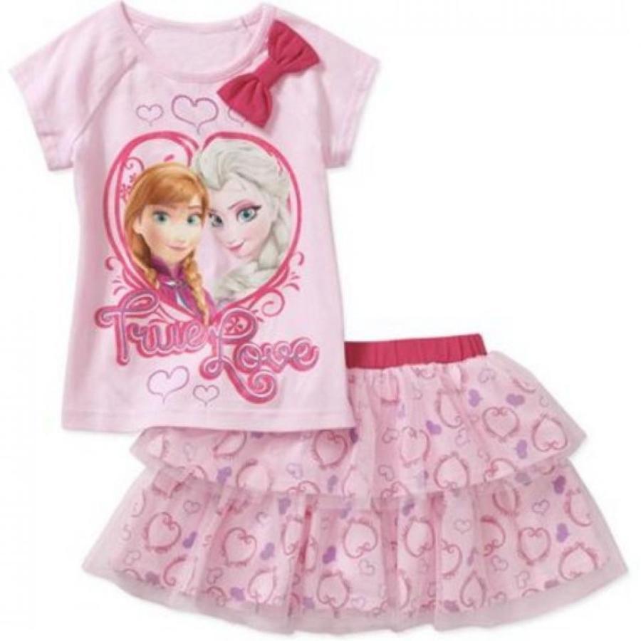 アナと雪の女王 おもちゃ フィギュア Disney Frozen Toddler Girl Elsa and Anna ピンク Tee & Skirt Outfit Set Size 5T 輸入品