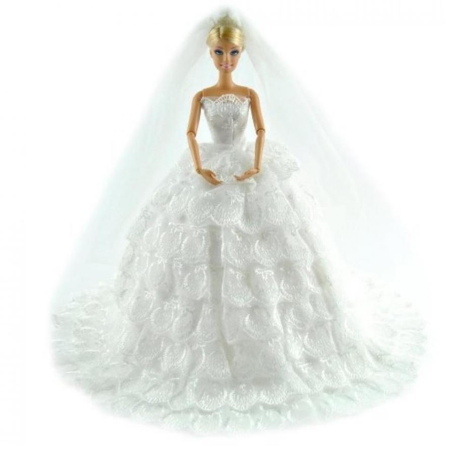 バービー人形 着せ替え おもちゃ Brand New Handmade Gorgeous Wedding Dress Princess Gown Cl