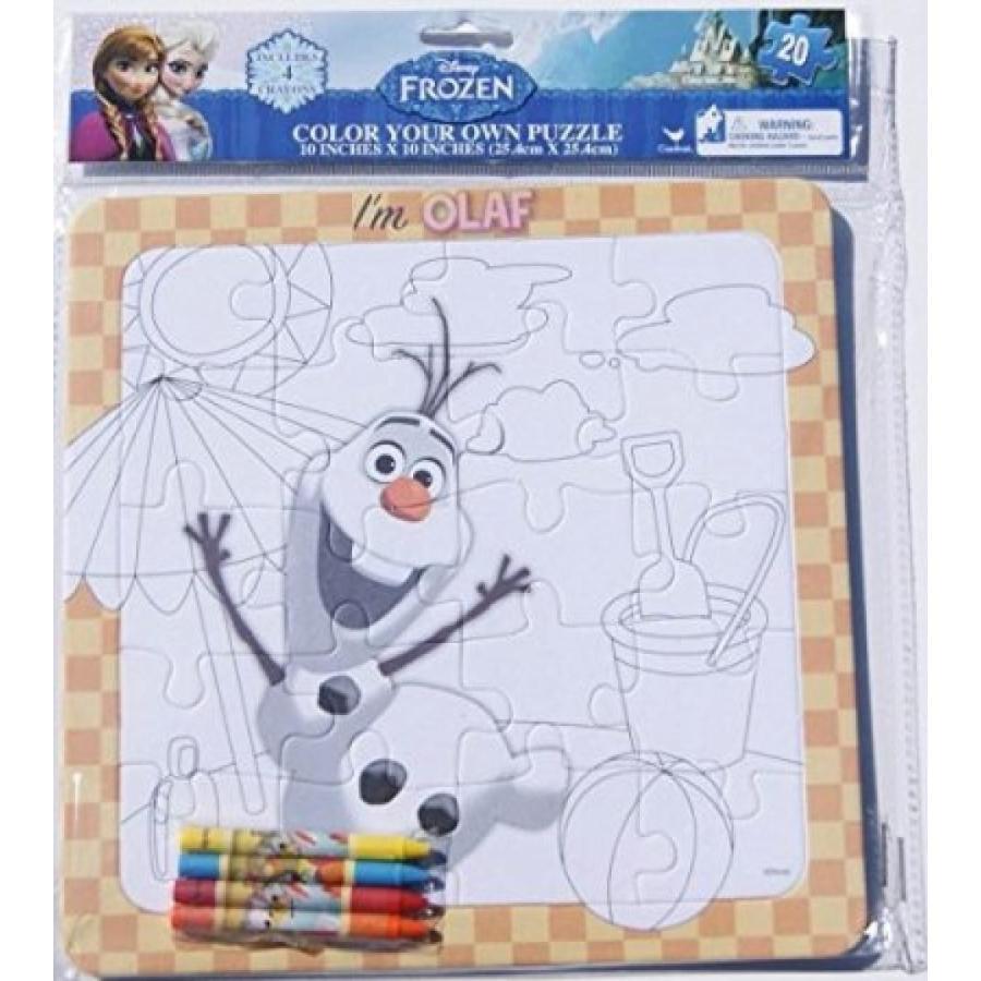 アナと雪の女王 おもちゃ フィギュア Frozen Elsa Color Your Own Puzzle 20 Piece with Crayons 輸入品