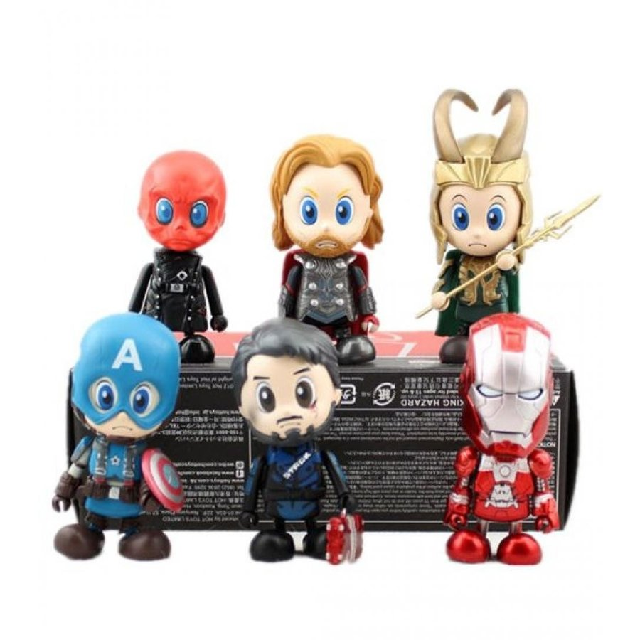 アベンジャーズ おもちゃ フィギュア Hottoys the Avengers Q Edition 3-inch Pack of 6 / PVC (Boxed) 輸入品