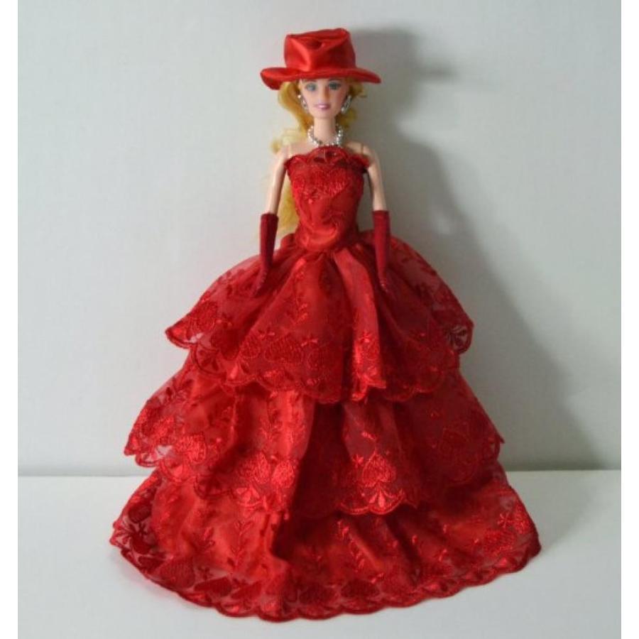 バービー人形 着せ替え おもちゃ G E M Deep 赤 Gown with Layers of Ruffle Details Made to Fit the Barbie Doll 輸入品