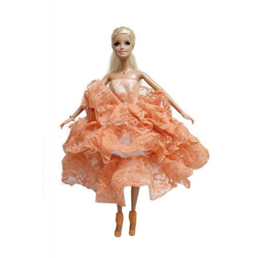 バービー人形 着せ替え おもちゃ Barbie Ball Gown Strapless Layers of Organza オレンジ Dress 輸入品