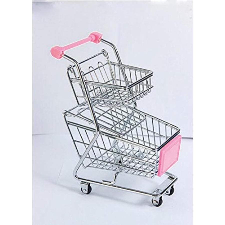 バービー人形 着せ替え おもちゃ Cute ピンク Mini Double Layer Supermarket Shopping Cart Desk