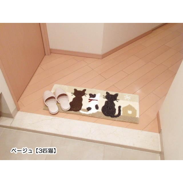玄関マット キッチンマット インテリアマット ミネット 猫 3匹猫ホーム 細長型 スリーキャット おしゃれ 猫グッズ 猫雑貨 猫柄|osyarehime|05