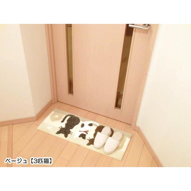 玄関マット キッチンマット インテリアマット ミネット 猫 3匹猫ホーム 細長型 スリーキャット おしゃれ 猫グッズ 猫雑貨 猫柄 osyarehime 07