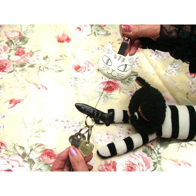 キーホルダー リール レディース おしゃれ かわいい ノアファミリー ねこ 小物 ネコ 猫柄 猫雑貨 猫グッズ noafamily 可愛い|osyarehime|04