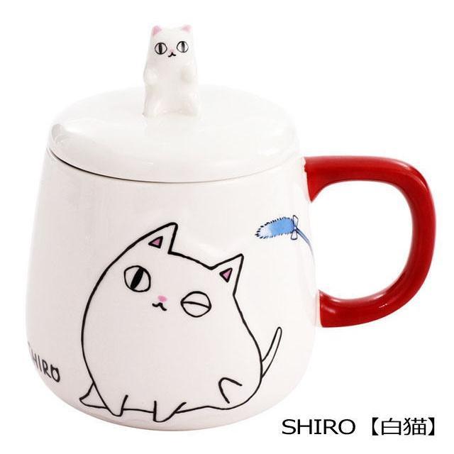 【在庫限りで終了】 マグカップ 蓋つき おしゃれ 猫3兄弟  白猫 ミケ猫 黒猫 ネコ柄 コーヒーカップ 茶碗 コップ 磁器 食器 電子レンジOK キッチングッズ 猫雑貨|osyarehime|02