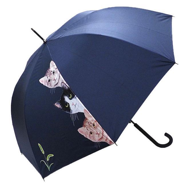 傘 晴雨兼用傘 猫柄 猫3匹柄 UVカット 長傘 雨傘 日傘 ジャンプ傘 【同梱不可】 ねこ ネコ 猫雑貨 猫グッズ 女性 レディース かわいい おしゃれ osyarehime 03